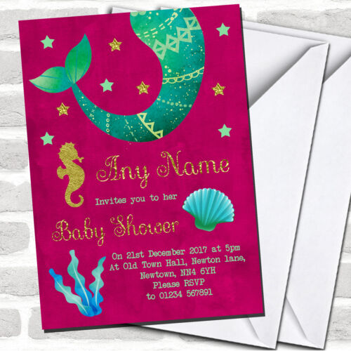 Gold /& Pink Mermaid Invitations Baby Shower Invitations