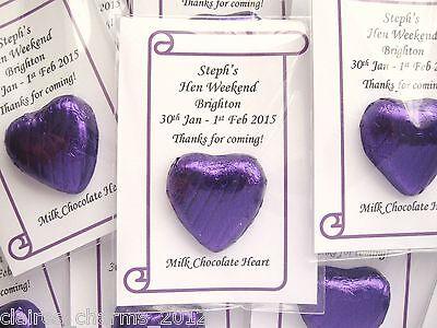 Cadbury Purple Wedding/Hen Party Favour - Single Chocolate Heart - low as 49p