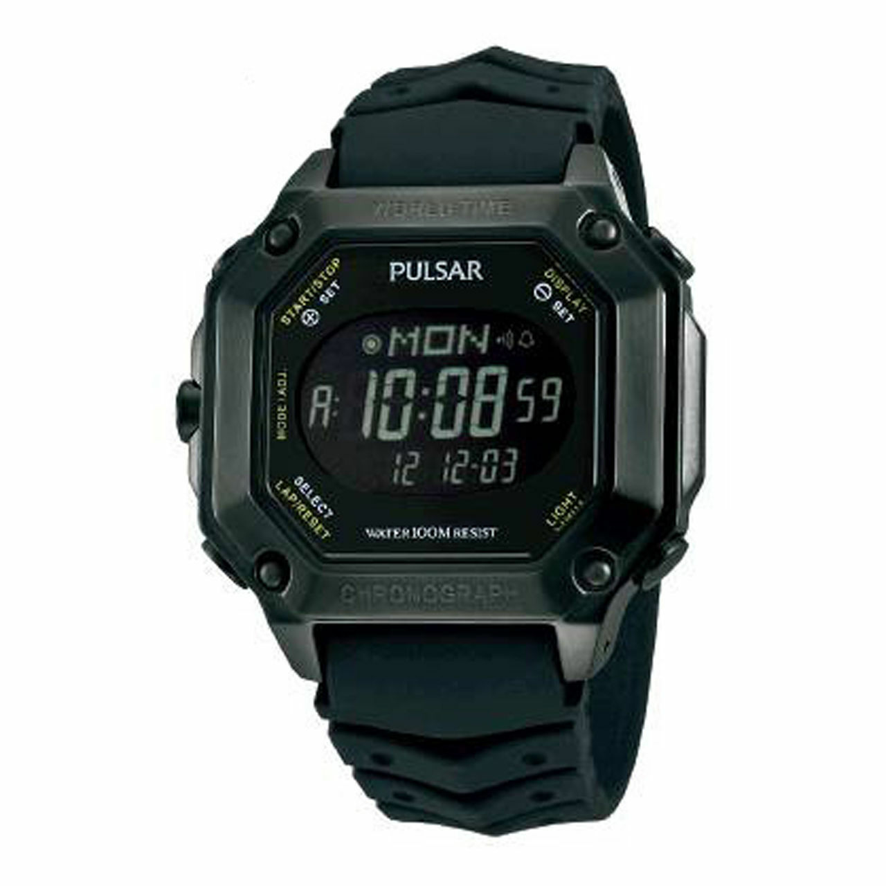 Pulsar World Time Digital Chronograph Daily Alarms Date Mens Watch