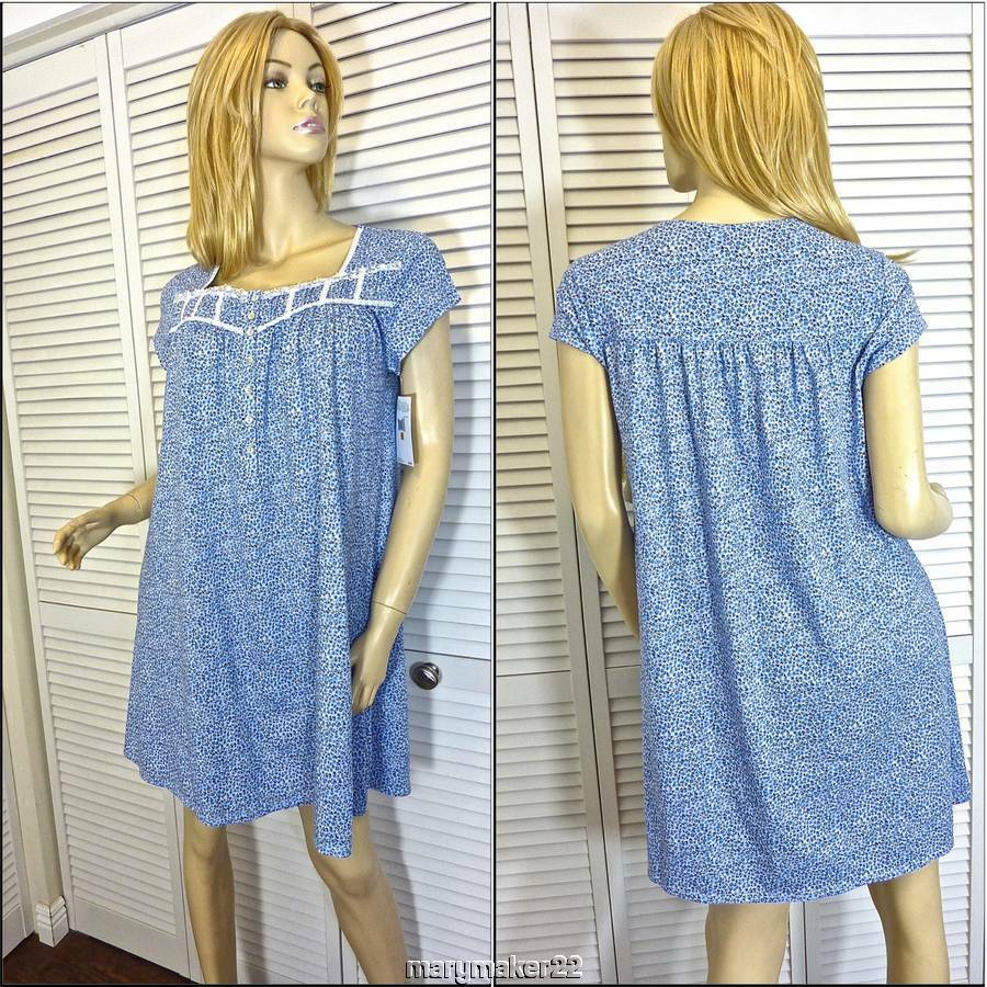 NWT  54 EILEEN WEST NIGHTGOWN SMALL blueE FLORAL K L 100% PIMA COTTON JERSEY