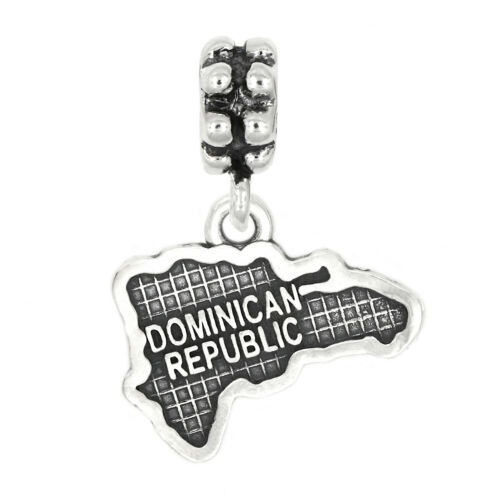 Sterling Silver Carte de République Dominicaine Dangle Bead Charm