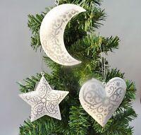 Gisela Graham Set of 3 Metal Christmas Tree Hanging Decorations Heart  Moon Star