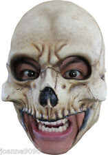 Deluxe Skeleton Skull Chin Strap Chinless Latex Halloween Horror Costume Mask