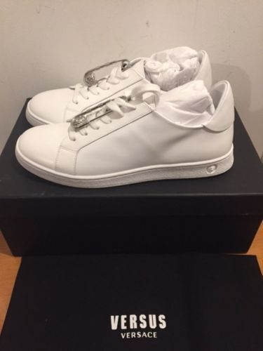 VERSUS VERSACE Lion Head Safety Pin White Trainers Sneakers Size UK 7 EU 40