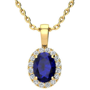 14K-YELLOW-OR-ROSE-GOLD-0-67CT-OVAL-SAPPHIRE-amp-HALO-DIAMOND-PENDANT-W-18-034-CHAIN