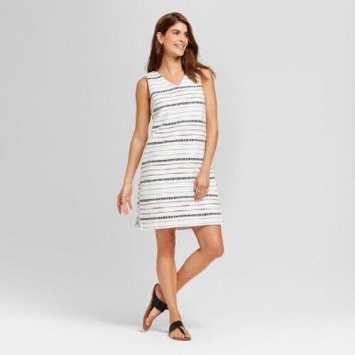 cbd6d07b82e2 Merona Sleeveless Jacquard Shift Dress White Striped V-neck Knee Length  Size XXL for sale online | eBay