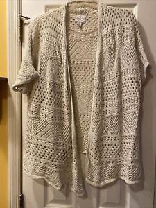 St. Johns Bay Women's Sweater Cardigan Size X Large Cream Beige