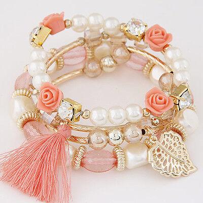 New Fashion Women Multilayer Pearl Gold Plated Tassel Handmade Bracelet Bangle