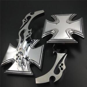 Universal-Motorcycle-Trlbal-Skulls-Flames-Iron-Cross-Billet-Mirrors-Set-Chrome