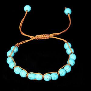 Boho-Naturstein-Tuerkis-elastische-Perlen-Armband-Armreif-Strand-Schmuck-Ges-XJ