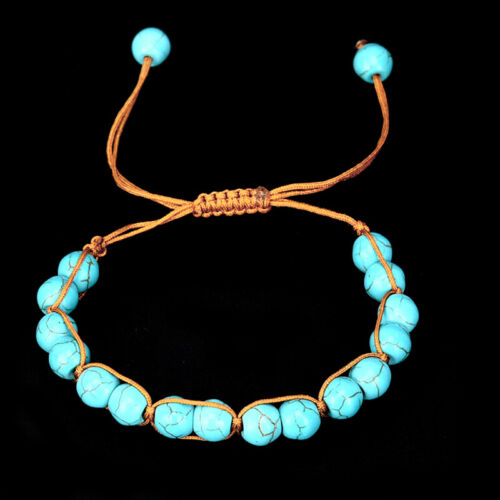 Boho pierre naturelle Turquoise Perles élastiques Bracelet plage Bijoux cadeauWI
