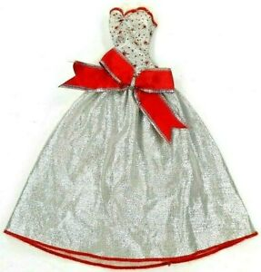 Barbie-Vintage-Fitting-Clone-Silver-Lame-Gown-w-Red-Waist-Bow-amp-Red-Trim