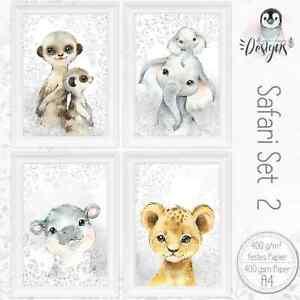 SAFARI-Kinderzimmer-Bilder-Giraffe-Baby-Poster-Tiere-A4-Druck-SET44-SAF2