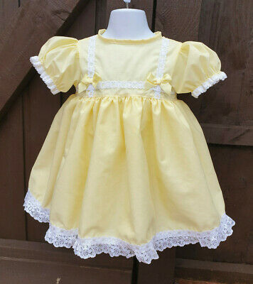 DREAM 0-6 YEARS  LEMON PINK LINED TRADITIONAL DRESS  OR REBORN DOLLS