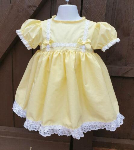 Dream Baby Ragazze Tradizionale Limone Foderato Abito 0-3 ANNI o Bambole Reborn