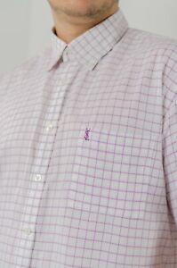Men-039-s-YSL-YVES-SAINT-LAURENT-Purple-Checked-Short-Sleeve-Casual-Shirt-Sz-XL