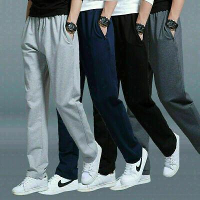 Men/'s Boys Two Side Pockets Open Hem Joggers Fleece Bottom Men Trouser S-XL