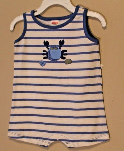 """BOYS 18 months striped romper /""""Crab /& Seashells/"""" bodysuit 1-piece outfit NWT"""