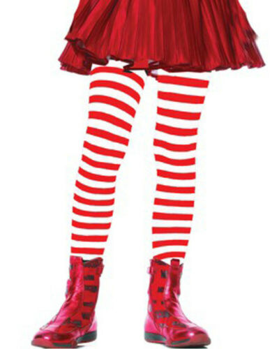 Red And White Striped Girls Tights