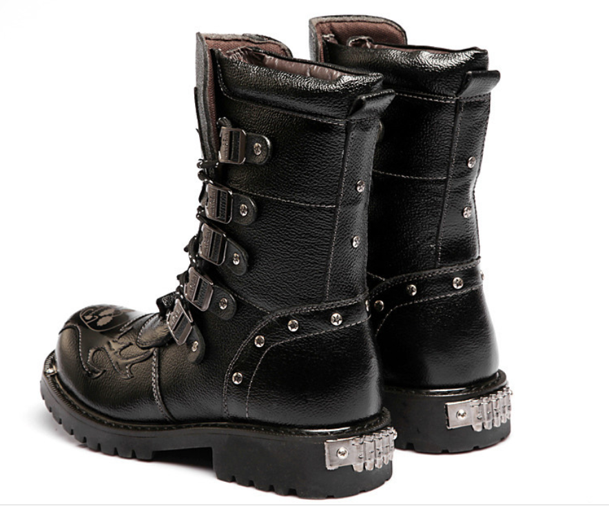 Fashion Punk Rock Buckle Leather Motorcycle Boots shoes Black shoes