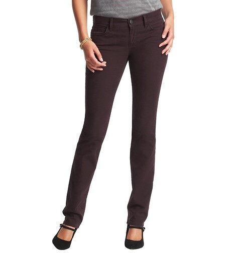 Ann Taylor LOFT Modern Straight Leg Jeans Pants Size 24 00 NWT Dark Plum color