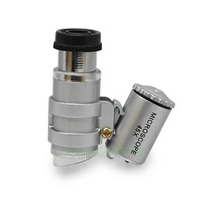 45x Mini Pocket Microscope Led Light Magnifier Loupe Ebay