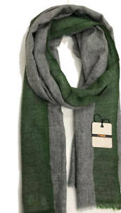 CASHMERE-SCARF-Grey-with-Olive-GREEN-border-Shawl-Wrap-Handmade-Natural