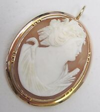 Victorian 9ct Gold Fine Hand Carved Shell Cameo Greek Goddess Pendant c 1870