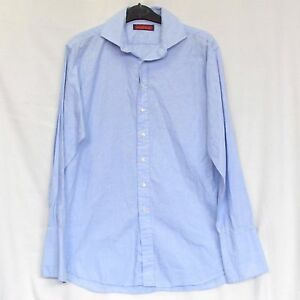 Mens Austin Reed Size 42 16 1 2 Button Down Dress Shirt Blue 100 Cotton French Ebay