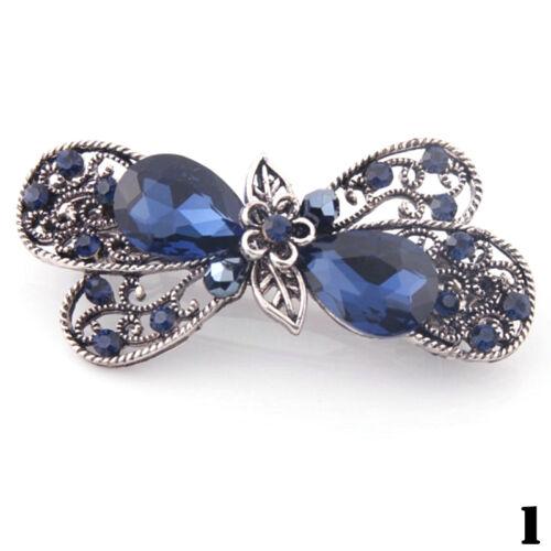 Frauen Metall tiefer blauer Haar-Klipp-Haarnadel-Strass-Kristallclip Gesche E4K5