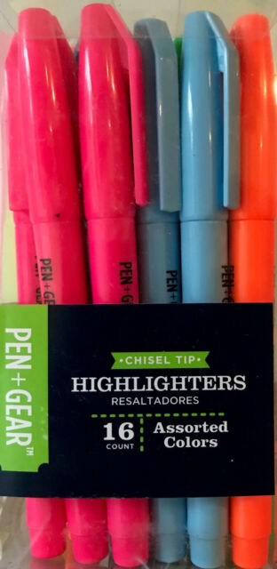 16 Pen+Gear Smear-Proof Chisel Tip Highlighters - Assorted Colors - NEW