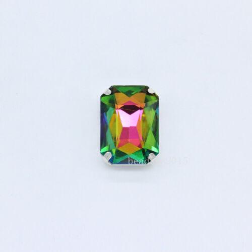 9p 27x18mm Rectangle Verre Cristal Applique Coudre Sur Strass Artisanat Loose Beads