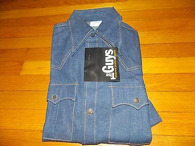 Attivo 1970's Nuovo The Guys Camicia Jeans Never Worn ! Uomo Taglia Small (spedizione