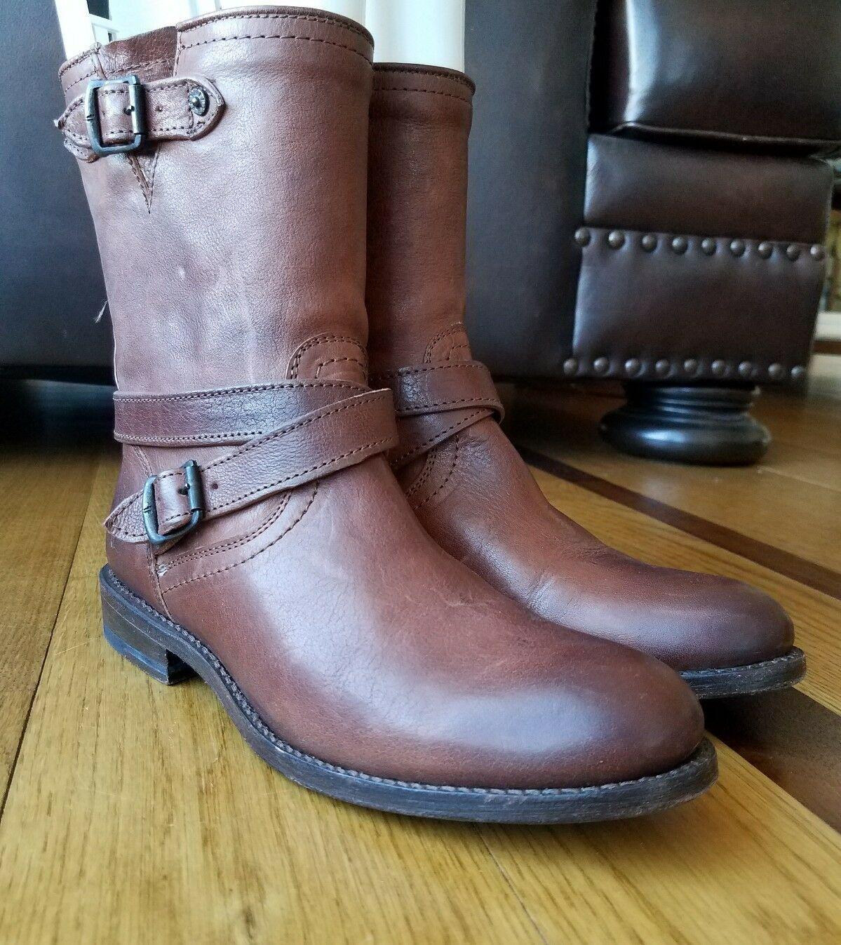 Frye JAYDEN Woman's Brown Boot Leather Cross Engineer Short Boot Brown Size 7.5 B 76316 67bdef