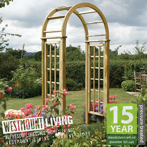 New Wooden Pressure Treated Garden Round Top Arch Curved Rose
