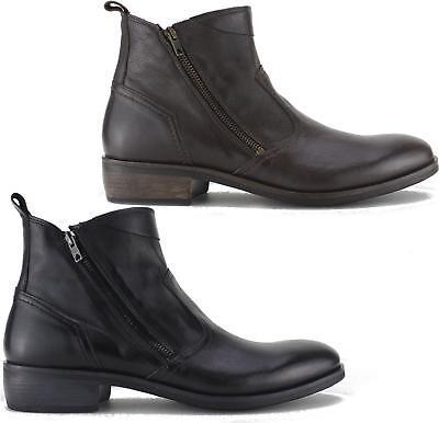 74e91e5271ba Machete WESTON Mens Rugged Leather Trendy Zip Up Heeled Vintage Look Ankle  Boots | eBay