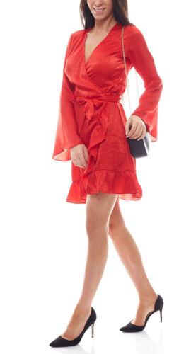 NA-KD x Qontrast Wickel-Kleid verführerisches Damen Satinkleid Rüschen-Kleid Rot