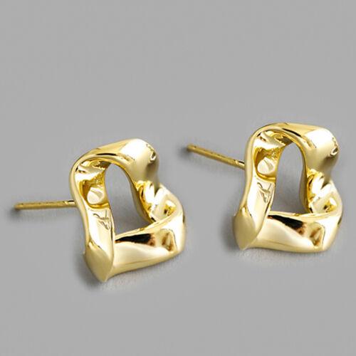 Boucles d/'oreilles en or 18k Mobius Twisted Triangle Véritables bijoux argent925
