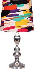 Funky  Silver Table/Bedside Lamp With Coloured Abstract Shade
