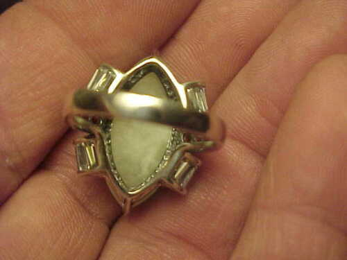 Excellent Quality Beautiful Celadon Jade Sterling Silver Garnet CZ Ring All Size