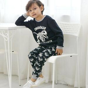 924737bd0d60 Kids Boys Girl Dinosaur Pajamas Child Cotton Shirt Pants Sleepwear ...