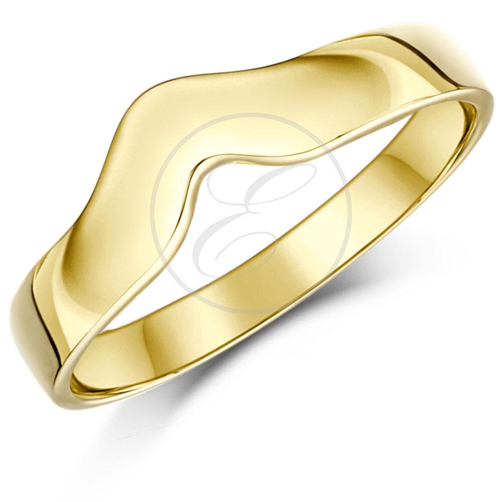 9 Karat yellowgold Ring gebogenes Querlenker Ehering Solide & Metallprägung) 3mm