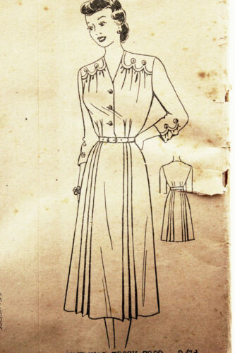 1940s 40s Sewing Dress Pattern UNCUT FF AHJ 7809 B40 W35 H44 Original XL XXL L