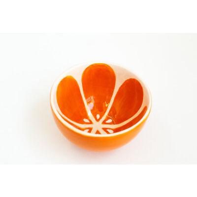 Orange Ceramic Tea Bowl Handmade Pottery Unique