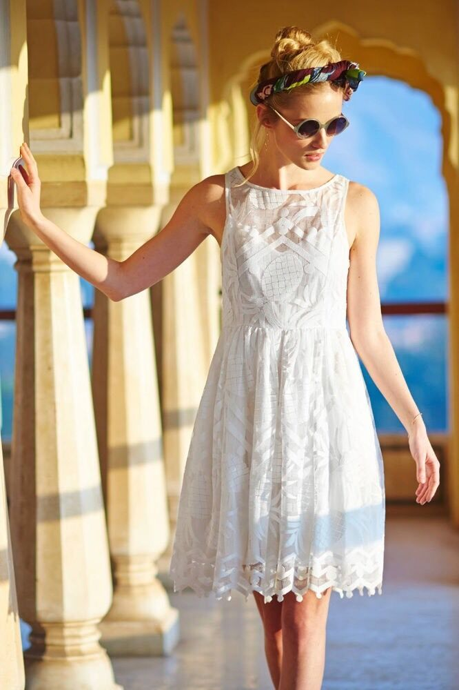 NWT NWT NWT Anthropologie Maeve Pineapple Lace Dress White  10 12578c