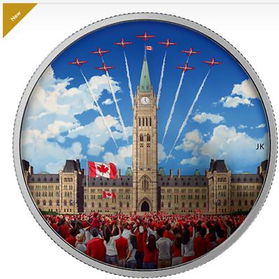 Glow-in-Dark Domed Colorized Proof Silver In OGP SKU44817 2017 Canada $25 1 oz