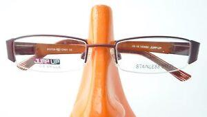 Damengestell-Brillen-Fassung-Stahl-mit-schmaler-Form-aubergine-Halbrand-size-M