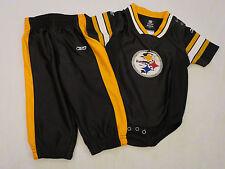 Reebok NFL Steelers 2 pc set Black & Gold Jersey Creeper & Pants Infant 12 month