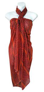 69e77a0d62 Orange Green Floral Print Sarong Pareo Big Scarf Swimsuit Beach Wrap ...
