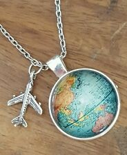 ♡ WORLD TRAVELER NECKLACE ♡ SILVER AIRPLANE CHARM ♡  GIFT NECKLACE ♡ GLOBE MAP